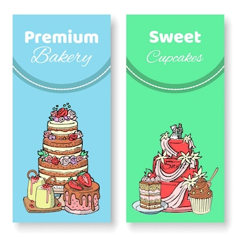 Bolos e cupcakes. chocolate, napoleão, tiramisu, sacher, eclair e cheesecake.