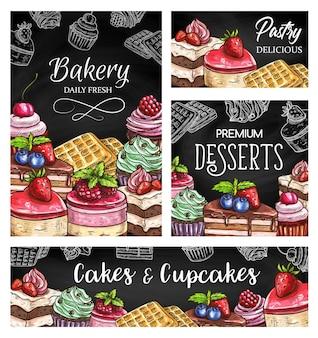 Bolos e cupcakes esboçam cartazes
