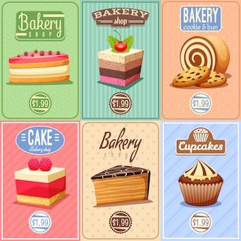 Bolos e doces mini colecção de posters