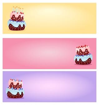 Bolos festivos bonito dos desenhos animados com velas e bagas conjunto de banners para lojas e mídias sociais.