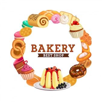 Bolos, pão de padaria, menu de pastelaria de chocolate