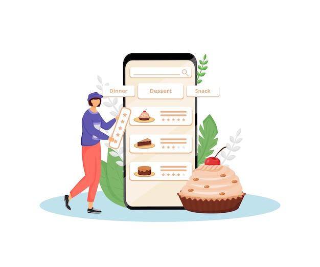 Bolos sabor e ilustração plana conceito de feedback de qualidade. cliente feminino, personagem de desenho animado 2d de comprador on-line de pastelaria para web design. ideia criativa de revisão de cliente de padaria doce