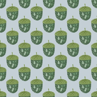 Bolota verde doodle silhuetas padrão sem emenda. Vetor Premium