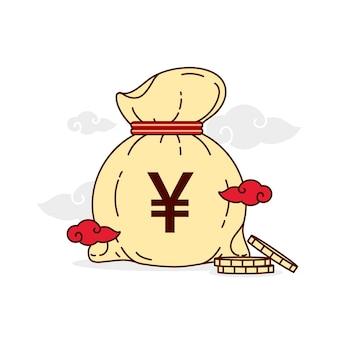 Bolsa cheia de moedas de ienes