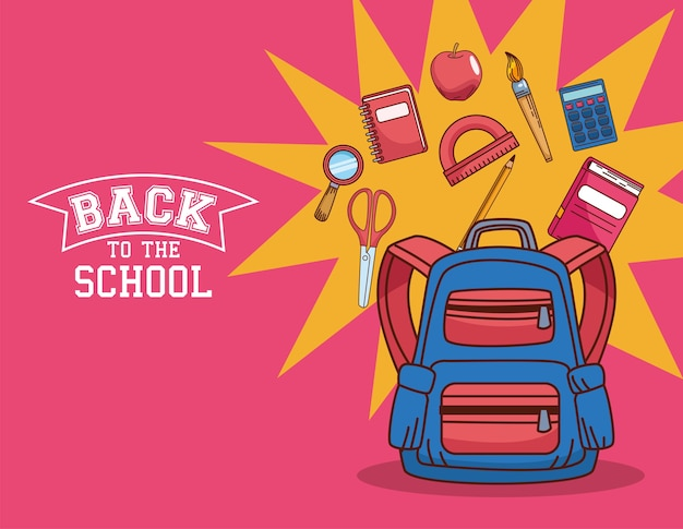 Bolsa com design de conjunto de ícones, aula de educação de volta à escola e tema da lição