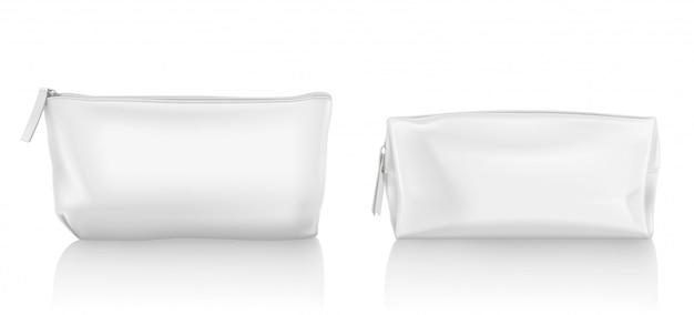 Bolsa cosmética branca com zíper para maquiagem