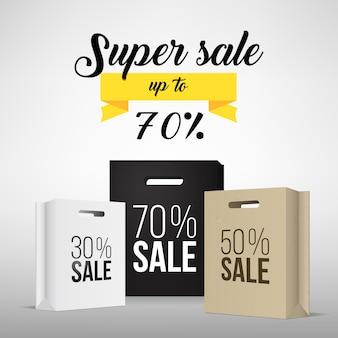 Bolsa de compras de papel com promoção de venda.