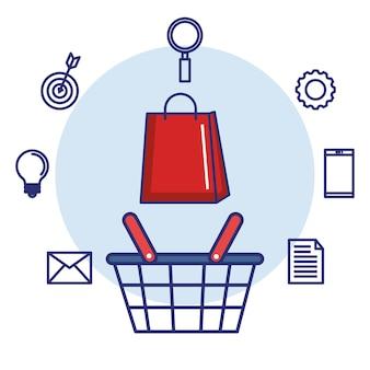 Bolsa de compras e bolsa de papel de marketing digital
