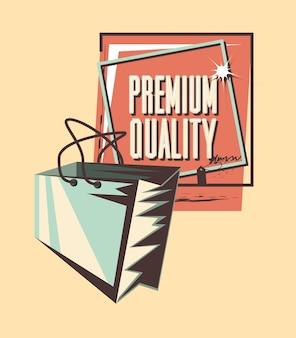 Bolsa de compras estilo grunge de qualidade premium