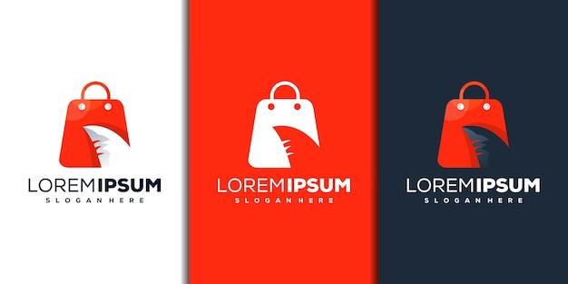 Bolsa de compras moderna e design de logotipo de tubarão
