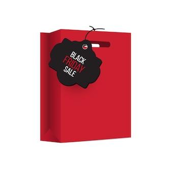 Bolsa de compras sexta-feira preta, pacote vermelho