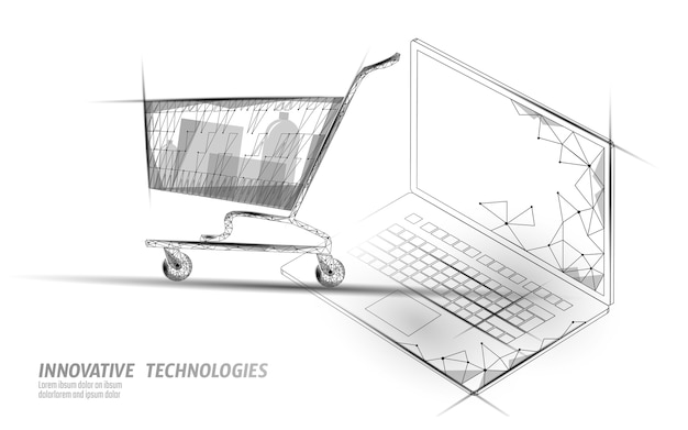 Bolsa de compras . tecnologia de mercado de comércio de laptop de loja online.