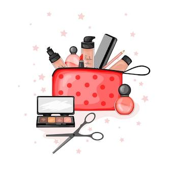 Bolsa de cosméticos com um conjunto de itens de beleza