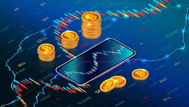 Bolsa de criptomoeda, investimento em aplicativos móveis. mercado monetário digital. gráfico de negociação forex