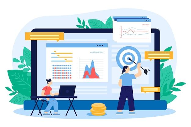 Bolsa de dados dados design plano ilustração
