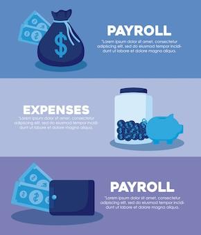 Bolsa de dinheiro com conjunto de ícones finanças da economia