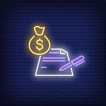 Bolsa de dinheiro com contrato e sinal de néon de caneta