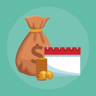 Bolsa de dinheiro com moedas e agenda
