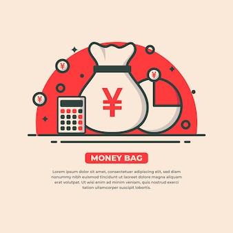 Bolsa de dinheiro com símbolo do iene