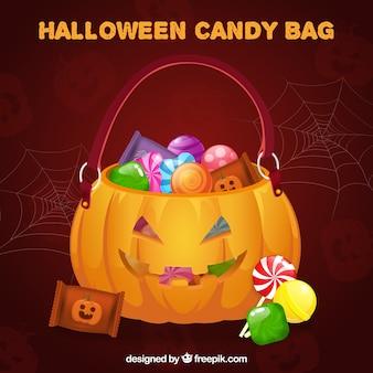 Bolsa de doces realista do dia das bruxas