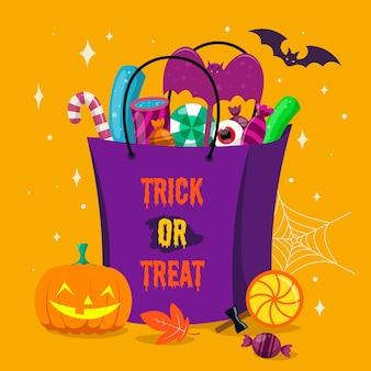 Bolsa de halloween de design plano com doces