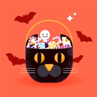 Bolsa de halloween de design plano com gato