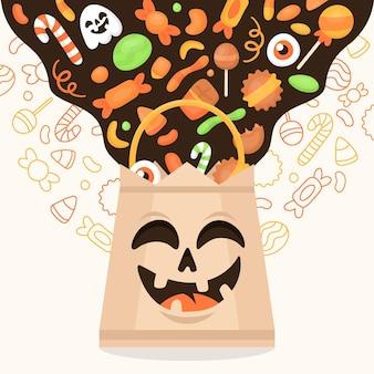 Bolsa de halloween de design plano Vetor grátis