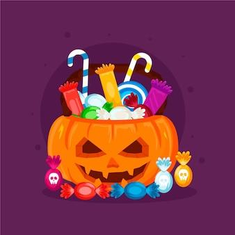 Bolsa de halloween de design plano