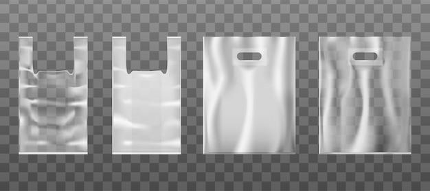 Bolsa de mão com orifício de mão ou alça de plástico ou papel alumínio. plano de fundo transparente.