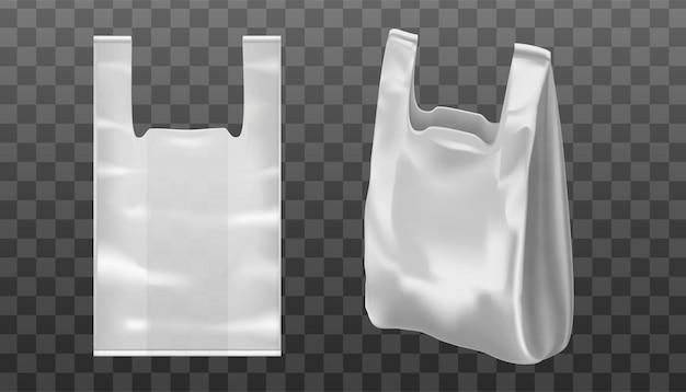 Bolsa de mão realista 3d com orifício de mão ou alça de plástico ou papel alumínio. plano de fundo transparente.