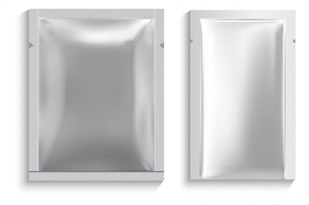 Bolsa de máscara facial em saquinho de alumínio. pacote branco em branco