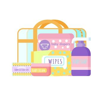 Bolsa de maternidade com cosméticos para mamãe e bebê. fazendo uma mala hospitalar. cosméticos para recém-nascidos.