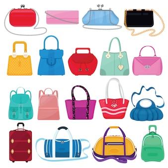 Bolsa de meninas de vetor de saco de mulher ou bolsa e sacola de compras ou embreagem de loja de moda