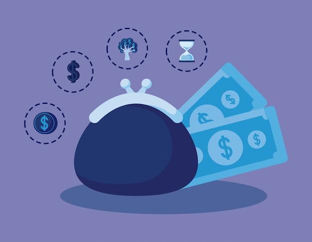 Bolsa de moedas com conjunto de ícones finanças da economia