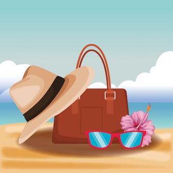 Bolsa de mulher e chapéu com óculos de sol