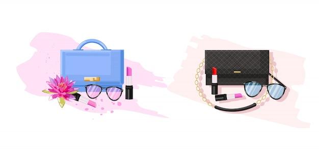 Bolsa de óculos, bolsa e batom