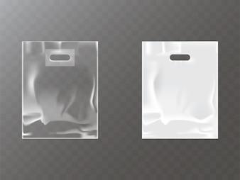 Bolsa de plástico ou plástico transparente e branco com orifício de travamento