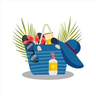 Bolsa de praia para mulher com acessórios de praia. ilustração vetorial.