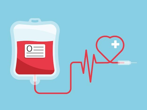 Bolsa de sangue com forma de coração, doação de sangue