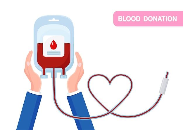 Bolsa de sangue com gota vermelha, coração na mão, isolado no fundo branco.