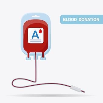Bolsa de sangue com gota vermelha isolada no fundo branco.