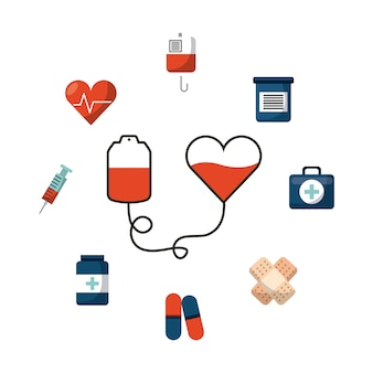 Bolsa de sangue com ícones de equipamentos médicos ao redor