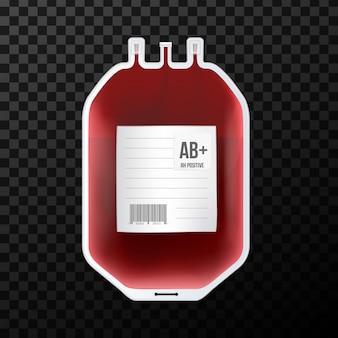 Bolsa de sangue com tipo, recipiente de plástico para plasma.
