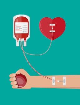 Bolsa de sangue, coração e mão do doador