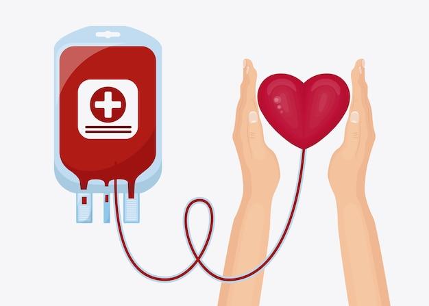Bolsa de sangue e mão voluntária com coração