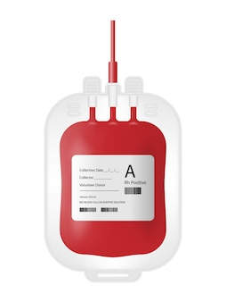 Bolsa de sangue isolada no branco