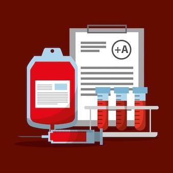 Bolsa de sangue seringa tubo de ensaio e prancheta relatório