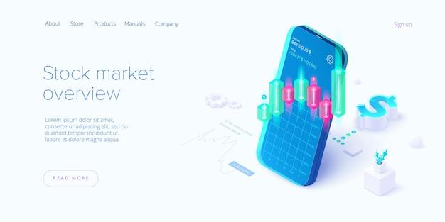 Bolsa de valores em desenho isométrico. mercado de negociação ou aplicativo móvel de investimento.