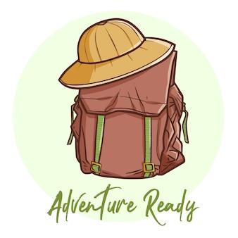Bolsa e chapéu de aventureiro divertidos e divertidos para uma nova aventura