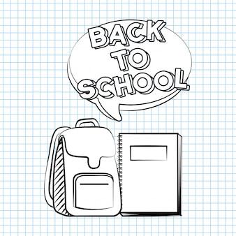 Bolsa e livro, volta para ilustração de escola